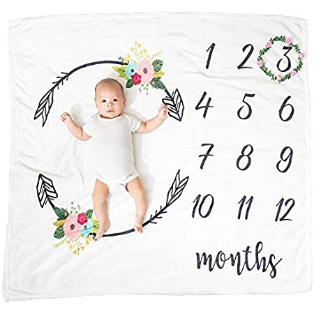 Rose Leaf Monthly Baby Blanket Monthly Calendar Newborn Photo Milestone Blanket