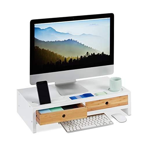 Relaxdays, weiß/Natur Monitorständer Bambus, Bildschirmerhöhung mit 2 Schubladen & Fächern, Lapdesk HBT 14 x 60 x 30 cm, Standard
