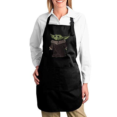 NR Baby Yoda Funny Schürzen für Männer und Frauen mit 2 Taschen - Küchenchef Kochen Grillen BBQ Backen Schürze