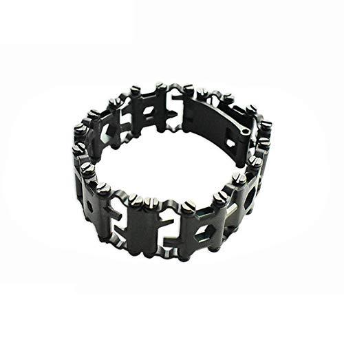 AWFAND - Pulsera multifunción de acero inoxidable, 29utilidades en 1sola pieza, destornillador, abrelatas, llave Allen, herramienta original de viaje, negro