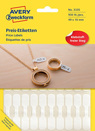 AVERY Zweckform 3335 Preisetiketten (49 x 10 mm, selbstklebende Schmucketiketten im Hantelformat zur Kennzeichnung von Brillen oder Schmuck) 930 Aufkleber weiß
