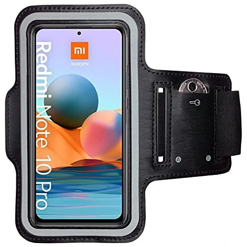 CoverKingz Sportarmband für Xiaomi Redmi Note 10 Pro / Pro Max - Armtasche mit Schlüsselfach Redmi Note 10 Pro / Pro Max - Sport Laufarmband Handy Armband Schwarz