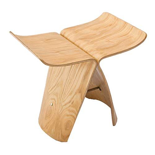 Der Butterfly Hocker ist mit einem kreativen gebogenen Holzhocker aus Walnussholz für Schuhbank ausgestattet,Woodcolor