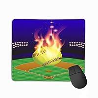 マウスパッドソフトボールフィールド火災の背景上空の炎上Eps使用可能なEpsには要素長方形ゴム製マウスパッドが含まれています