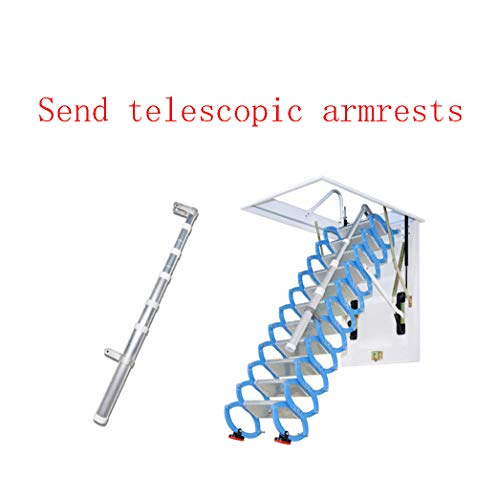 Invisible loft Ladder Alloy Hole Retractable Folding attic Stairs Pull Down Ceiling Ladder Hinges 6.56 ft-13.12ft (Height 11.48 ft,Hole 27.55in47.24in)