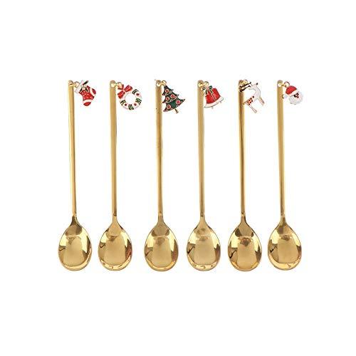AXspeed Weihnachtslöffel, 6-teiliges Edelstahl-Löffel, Koch-Set mit Weihnachtsanhänger, Kaffee-Rührlöffel, Teelöffel, Dessertlöffel, mit Geschenkbox (Gold)