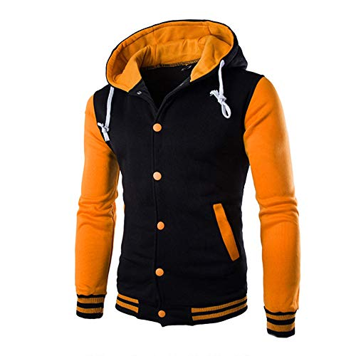 JiaMeng Hombres Chaqueta Primavera otoño e Invierno Algodón Abrigo Chaqueta Outwear Sweater Sudadera de Invierno Slim Warm(Amarillo,M)