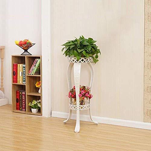 Support et support de pot de bonsaï de plancher, présentoir de plante de jardin en fer forgé (81 * 31cm) (Couleur : Blanc)