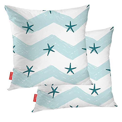 BaoNews Coastal Nautical Decorative Pillow Covers, Kids Starfish On White Blue Background,Summer Ocean Beach Wedding Pillow Covers 16X16 Inch Cotton Square Cushion Decorative Pillow Case for Sofa Bed