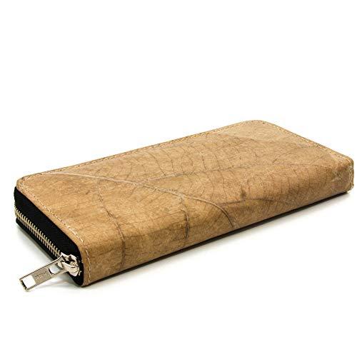 ECOMONKEY® Geldbörse vegan für Damen + groß mit Reißverschluss + veganes Leder (Kunstleder) aus Blättern + Upcycling mit vielen Kartenfächern + Grün (Beige)