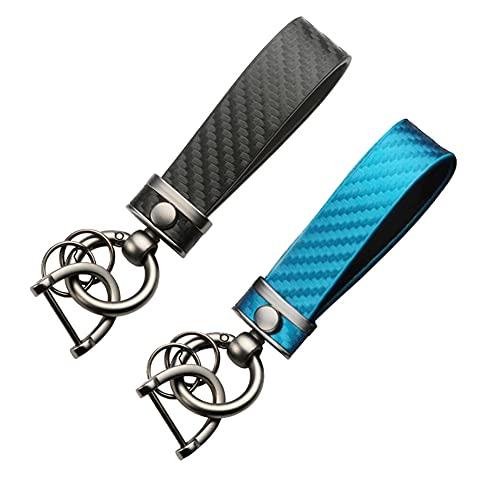 KAPROVER 2pcs Porte-clés en cuir de fibre de carbone pour voiture Porte clés de mode, Alliage antirouille Porte-clés à boucle à ressort fait à la main pour hommes et femmes, Noir+Bleu