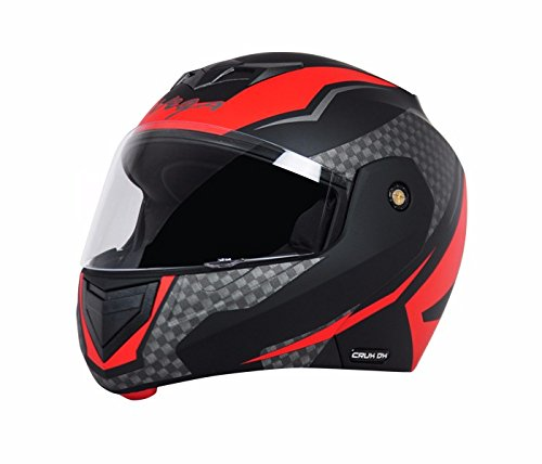 Vega Crux Clear Visor Flip Up Helmet, Large 57 59.5cm (Black and Red, V-CRUX-18-03-2017-5)