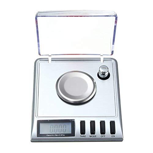 QKa Básculas de joyería Báscula Digital de joyería de miligramo de Alta precisión, 20 g / 0,001 g, Pesas de calibración y Pinzas Incluidas