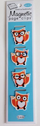 Cute Foxes Illustrated Magnetic Page Clips Set of 4 by Re-marks