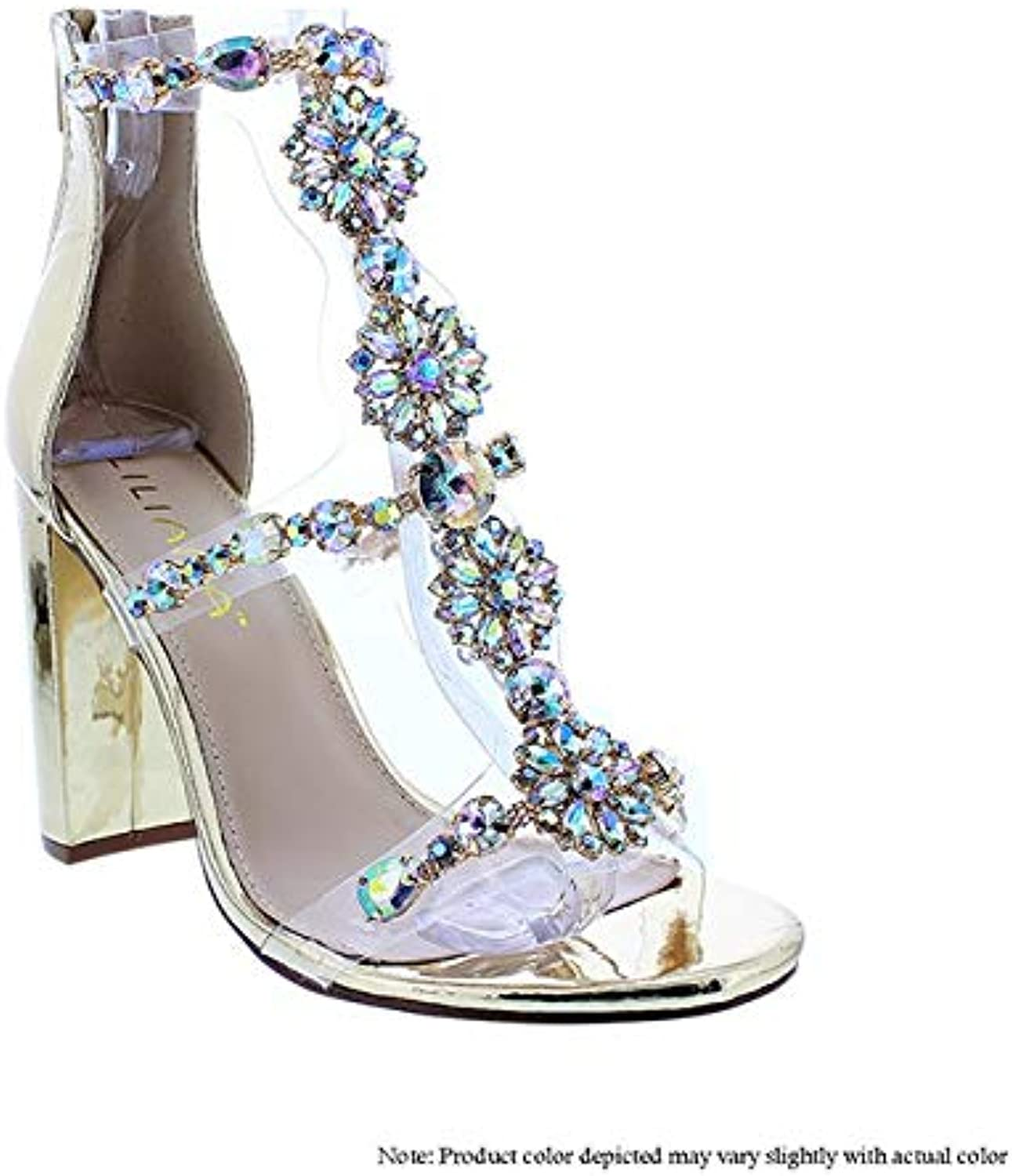 Liliana Women's Women's Classy Ankle Strap Clear Rhinestones Style High Heels Open Toe Stiletto Sexy Heeled Chain Look Strappy Sandals Taylor-19