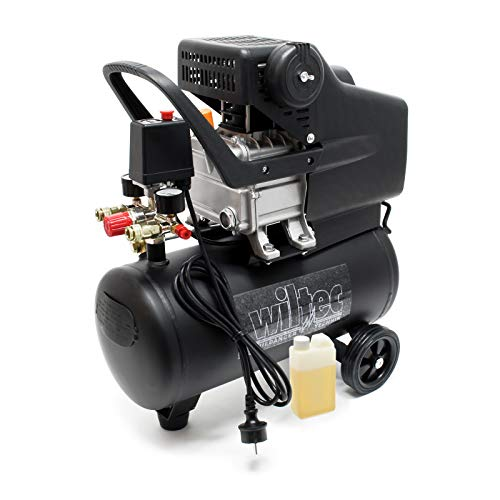 WilTec - Petit compresseur d'air à cuve, 24L 8bar