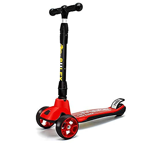 WENZHEN Micro Scooter Children s Scooter Flashing Outdoor Toy with Wheels with Foot Brake Kickboard Suitable For 2-6 Years Old Kids Red@Red