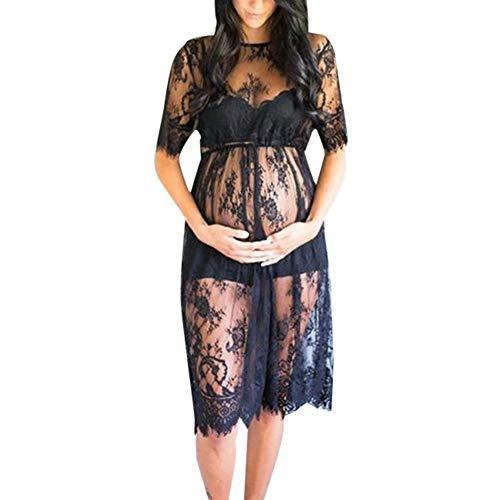 Kleider für Schwangere,Fotografie Spitzenkleid Damen Schulterfreies Umstandskleid Spitzen Schwangerschaftskleider Mutterschaft Maxi Kleid Elegante Schwarz Rock Hochzeit Abendkleider