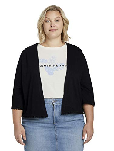 TOM TAILOR MY TRUE ME Damen Strick & Sweatshirts Kurzer Cardigan mit Häkel-Details Deep Black,46,14482,2999