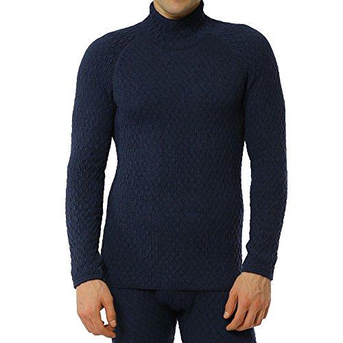 ひだまり本舗 [紳士用]ハイネックシャツ 防寒インナー あったか肌着 ひだまり エベレスト[3重袖シリーズ] (L, ネイビー) EVN942
