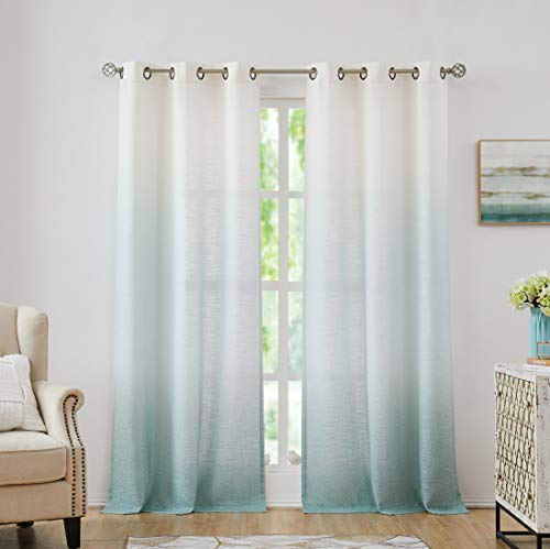 """Central Park Ombre Rayon Blend Heavy Linen Texture Window Curtain Panel 6 Grommets Top Gradient Cream White to Aqua Blue Window Drapes Treatment for Living Room/Bedroom, Set of 2, 40"""" x 95"""" Each"""