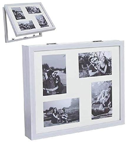 TIENDA EURASIA® Tapa de Contador de Luz Diseño Multi fotos - Cubre Contador Eléctrico de Madera Tapa Abatible (Cuadrado 4 Fotos - 38 x 7 x 32 cm, Blanco)