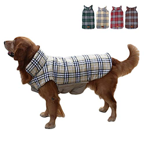 TFENG Hundemantel Hundejacke für Hunde Welpen, Gepolstert Puffer Umkehrbares Design Weste Regenmantel (Beige, Größe 3XL)