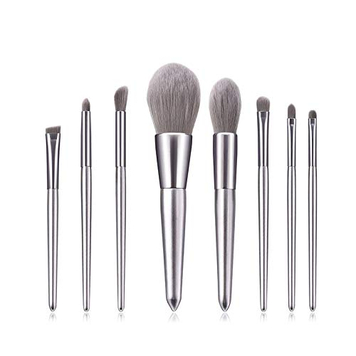 Fanxp® 8Pcs Silver Set de pinceaux de maquillage de haute qualité, pour poudre, fard à joues, ombre à paupières, sourcils, ensemble de pinceaux de maquillage