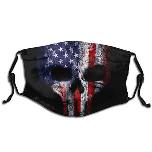 Adjustable Reusable Kids Men Women Protection face Masks with Filter American Flag Punisher Skull Grunge Distress USA Pattern 1
