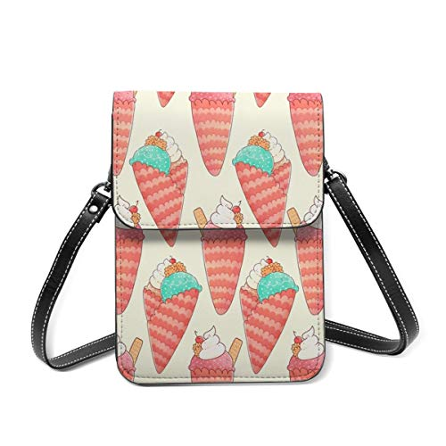 Ice Cream Small Crossbody Bag Womens Purse Leather Wallet Shoulder Travel Passport Bag Handbag Clutch