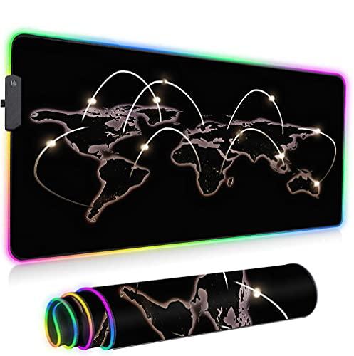RGB Mouse Pad,LED Gaming Alfombrilla de ratón de ratón de Gran tamaño Que Brilla intensamente Alfombra Suave Colorida para los Ratones Teclado de la computadora con la -Mapa del Mundo a 600x350x3mm