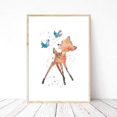 Din A4 Kunstdruck ungerahmt - Reh Hirsch inspiriert von Bambi Kinderzimmer Aquarell Wasserfarbe Vögel blau Deko, Geschenk Druck Poster Bild