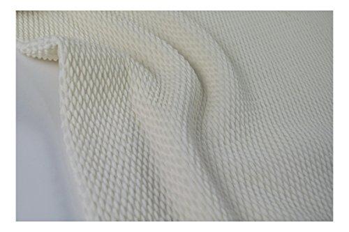 Fabrics-City % WOLLWEIß BI-STRETCH WOLLE CLOQUE STOFF DOUBLEFACE CLOQUÉSTOFF STOFFE, 4180