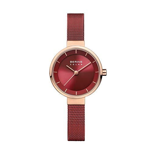 BERING Damen Analog Solar Collection Armbanduhr mit Edelstahl Armband und Saphirglas 14627-363