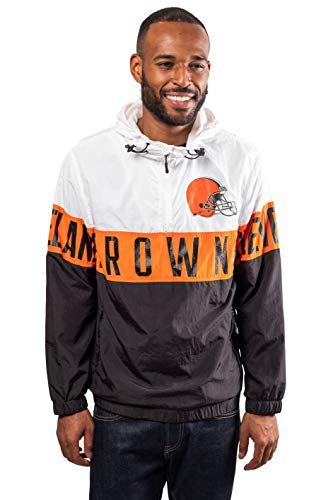 Ultra Game NFL Cleveland Browns Mens Quarter Zip Packable Hoodie Windbreaker Jacket, White, Medium