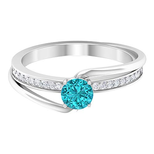 5 MM Lab Created Green Paraiba Tourmaline Ring, HI-SI Diamond Gold Ring, Bypass Engagement Ring, Solitaire Ring with Side Stone (AAAA Quality), 18K White Gold, Size:UK T