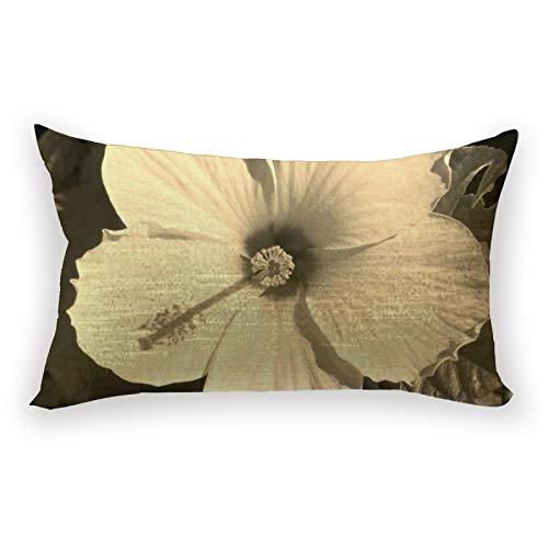 Sepia - Funda de almohada con diseño de flores de hibisco con fondo floral para sofá, cama, coche, 30,5 x 50,8 cm