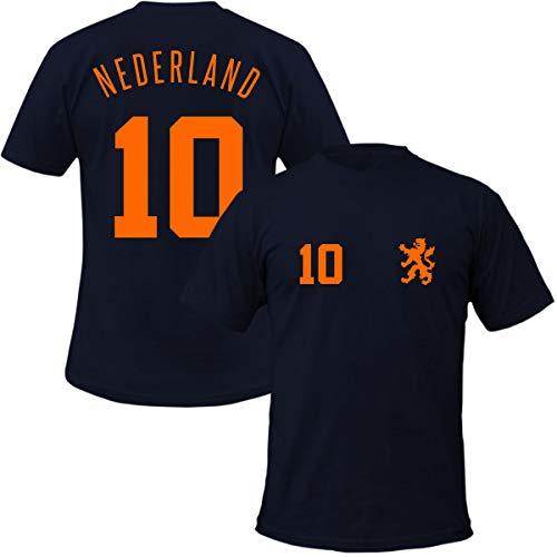 Holland T-Shirt Niederlande + Wunschnummer Fussball Trikot Style, Farbe:dunkelblau, Größe:5XL