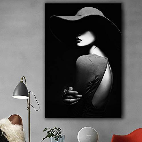 Frameloze schilderij Portret schilderij zwart-wit schilderij glamour vrouw met hoed kunst aan de muur voor woonkamer galerij woondecoratieZGQ5609 40X60cm