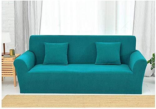 Living Room Sofa Covers Polyester Fabric Stretch Slipcovers,Strick-Stretch-Sofabezug aus Karo, Rutschfester Kissenbezug mit Vollbezug, Schutzbezug gegen Verschmutzung zu Hause - Jadegrün_190-230 cm