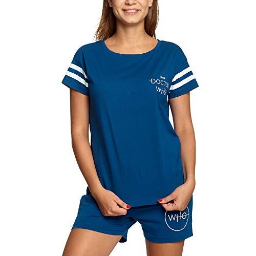Doctor Who Elbenwald Pyjama Tardis Rückenprint und Serien Logo 2 teilig Shirt und Shorts für Damen blau - L