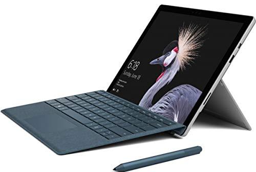 Microsoft Surface Pro 4 Tablet 12 Zoll Intel Core i5 256GB SSD Festplatte 8GB Speicher Windows 10 Pro Webcam grau-Silber inkl. Type Cover Tastatur schwarz Notebook (Generalüberholt)