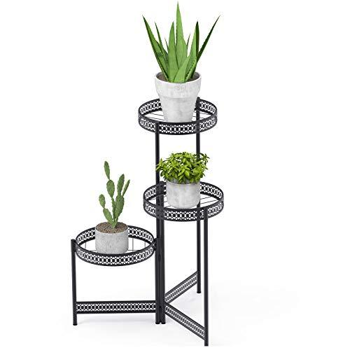 unho Blumenregal Metall, Blumentreppe 3 Ablagen, Pflanzenständer Blumentopf Ständer für Innen, 51 x 70cm