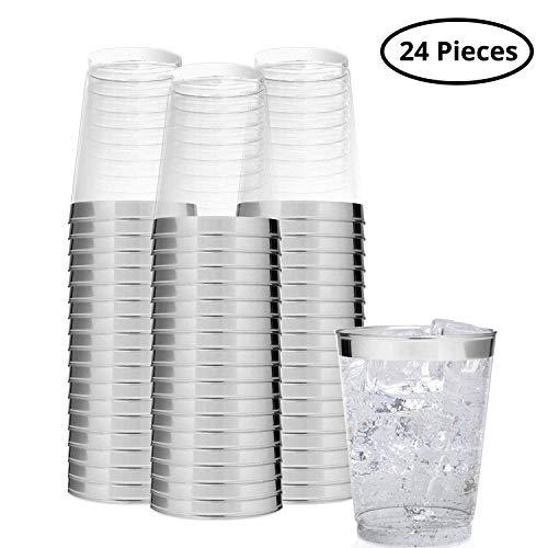 Kunststoffbecher (24 Stück) - 300 ml Glasklar Plastikbecher - Trinkbecher zum Party, Camping, Hochzeiten, Strand - Stapelbar Plastik Becher - Kunststoff Becher