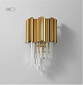 Postmodern Crystal Wall Lamp with Tiered Clear Crystal and Irregular Brass Lamp Circle for Bedroom Corridor Sitting Room