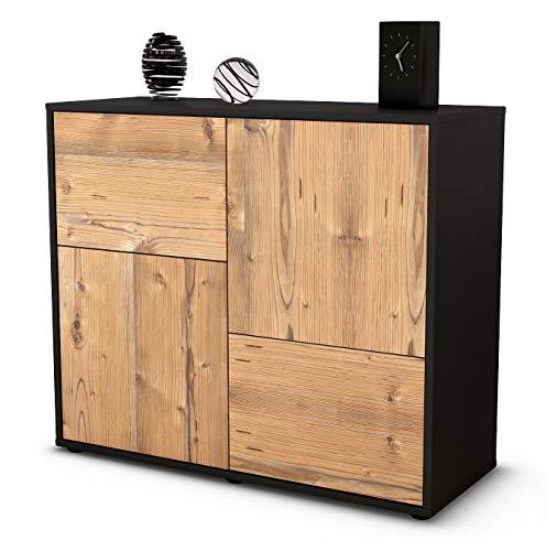 Stil.Zeit Sideboard Carla/Korpus anthrazit matt/Front Holz-Design Pinie (92x79x35cm) Push-to-Open Technik