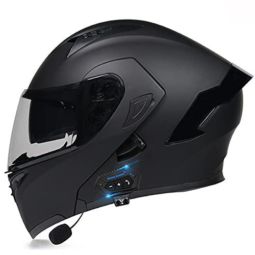 ACLFF Casco Moto Modular Bluetooth Integrado Cascos Integrales, Casco Abatible con Antirreflejo Doble Lente Sistema de Ventilación Forro Extraíble Dot ECE Homologado 57-64CM