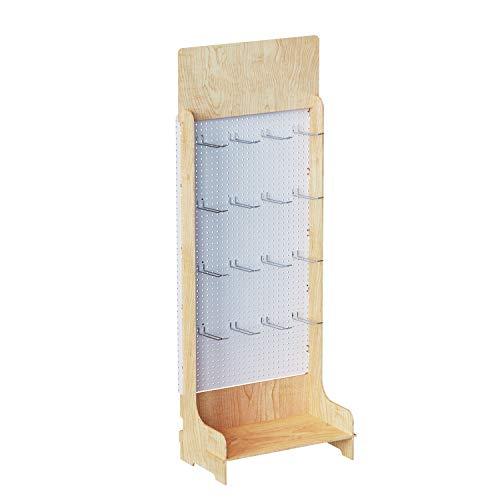Cemab Stefania, espositore in legno per prodotti blisterati con 20 ganci in metallo (filo doppio), montaggio ad incastro (Non Personalizzato)