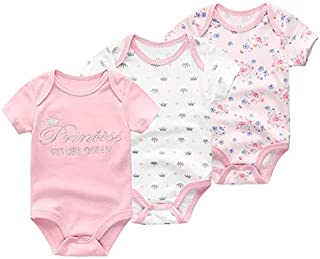 Baby show gift Baby Girl Clothes, 3 Pieces/group 100% Cotton Short Sleeve 0-3 Months Baby Girl Clothes, Cartoon Baby Romper Baby Clothes Girl for Wear on the Body Gift Photograph birthday party Take a