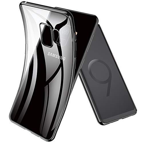 Joyguard Kompatibel mit Samsung Galaxy S9 Hülle Durchsichtig Weiche Silikon Plating Überzug TPU Handyhülle, Schwarz